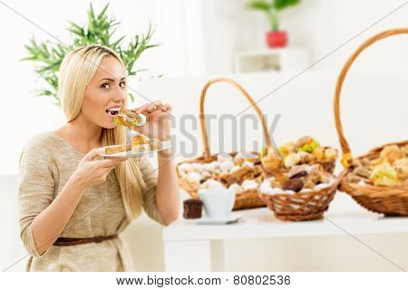 Woman Eating A Sandwhich