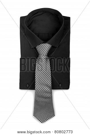 Black Shirt With A Tie. The Concept Of Business