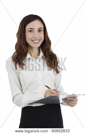 Business Woman Keeping Notes