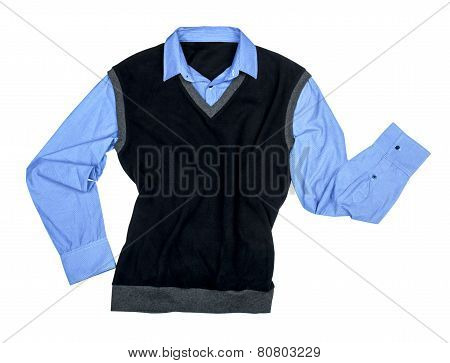 Blue Shirt And Black Sweater Isolated On A White Background