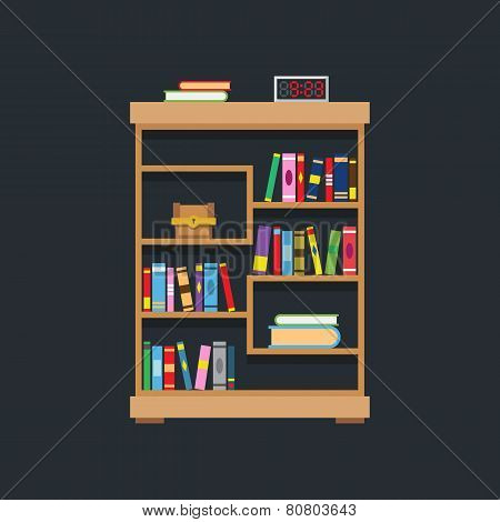 Flat Design Of Library Bookshelf