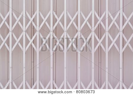 Pink Metal Grille Sliding Door