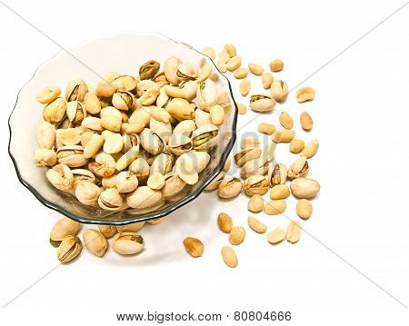 Plate With Pistachios And Peanuts