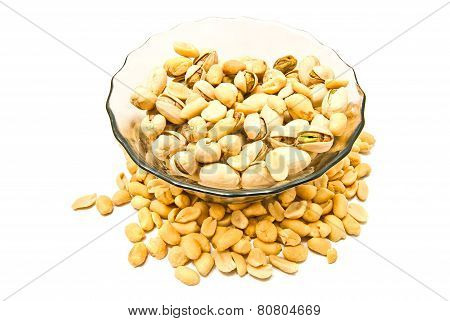 Dish With Pistachios And Peanuts Closeup