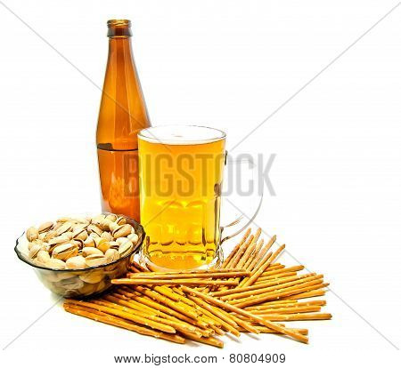 Breadsticks, Pistachios And Beer
