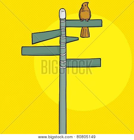 Brown Bird On Signs