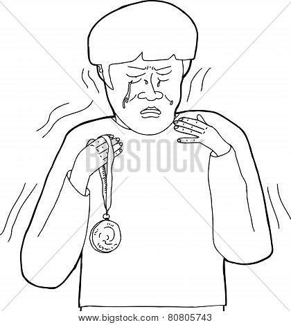Outline Of Upset Man With Medal