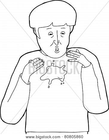 Outline Of Man With Stain On Shirt