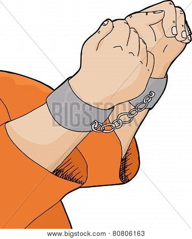 Cuffed Hands And Orange Shirt