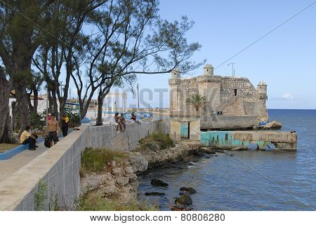 Sea-front and fortress of Cojimar, Havana, Cuba.