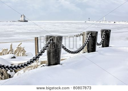 Lorain Lighthouse In Winter