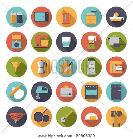 Flat Design Cooking Appliances Vector Icons Collection. Set of 25 kitchen and cooking related icons in circles.