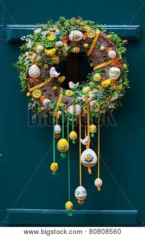 Handmade Garland For Easter, Outside On The Door, Prague