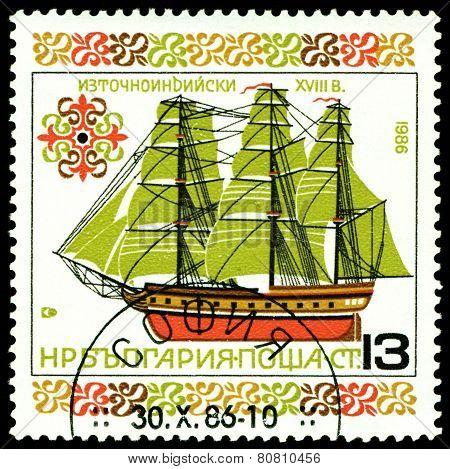 Vintage  Postage Stamp. Old. Sailing Warship. 1.