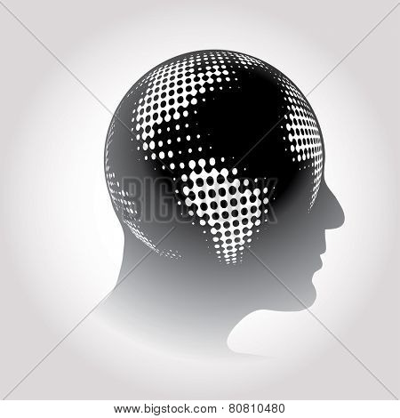 vector halftone raster globe on human head