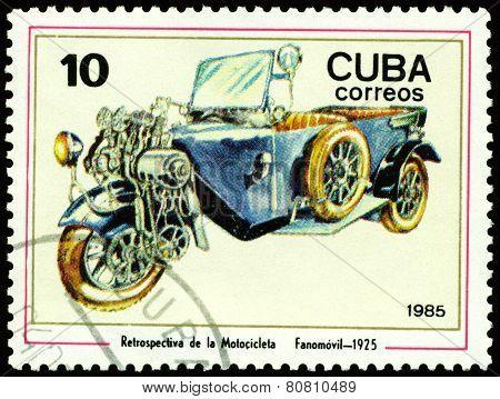Vintage Postage Stamp. Antique Motorcycle Fanomovil - 1925.
