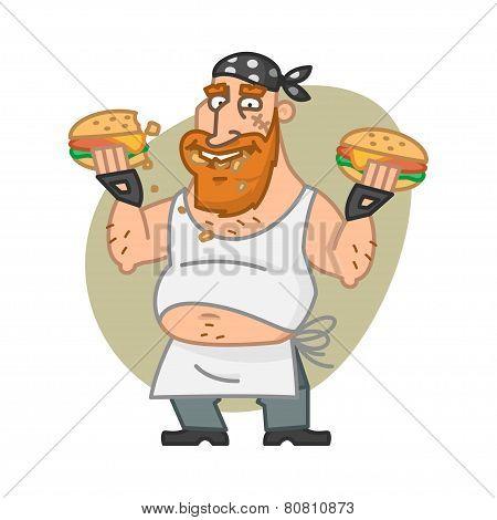 Biker man eating hamburgers
