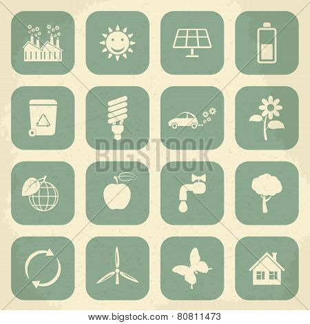 Retro ecology icon set. Vector illustration