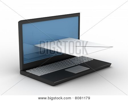 Laptop And Key On White Background. Isolated 3D Image