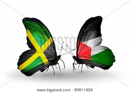 Two Butterflies With Flags On Wings As Symbol Of Relations Jamaica And Palestine