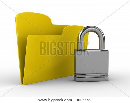 Yellow Computer Folder With Lock. Isolated 3D Image