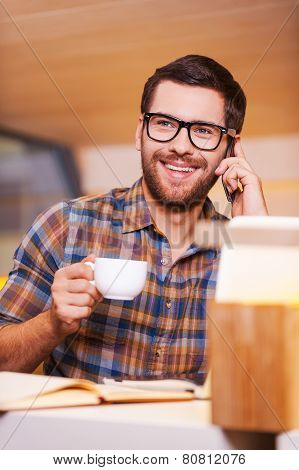 Man Taking Time For Coffee Break