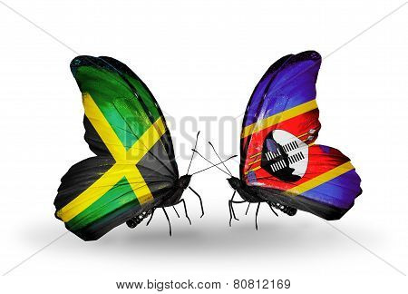Two Butterflies With Flags On Wings As Symbol Of Relations Jamaica And Swaziland