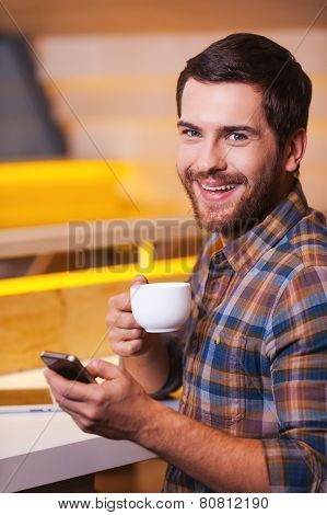 Man Enjoying Fresh Made Coffee