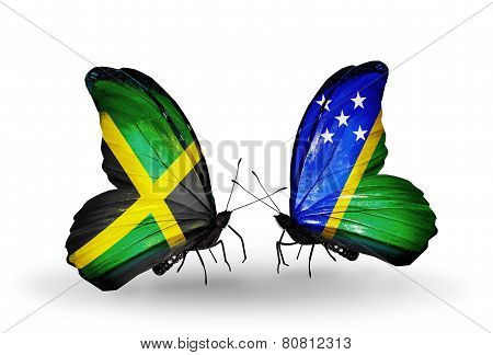 Two Butterflies With Flags On Wings As Symbol Of Relations Jamaica And Solomon Islands