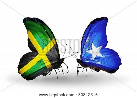 Two Butterflies With Flags On Wings As Symbol Of Relations Jamaica And Somalia