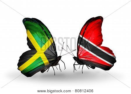 Two Butterflies With Flags On Wings As Symbol Of Relations Jamaica And Trinidad And Tobago