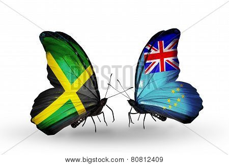 Two Butterflies With Flags On Wings As Symbol Of Relations Jamaica And Tuvalu