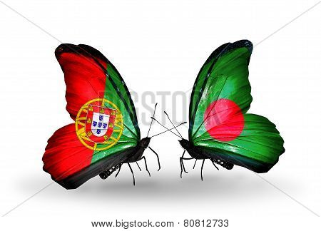 Two Butterflies With Flags On Wings As Symbol Of Relations Portugal And Bangladesh