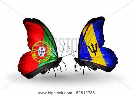 Two Butterflies With Flags On Wings As Symbol Of Relations Portugal And Barbados