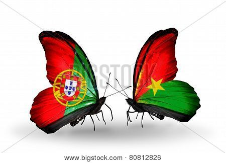 Two Butterflies With Flags On Wings As Symbol Of Relations Portugal And Burkina Faso