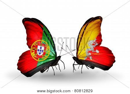 Two Butterflies With Flags On Wings As Symbol Of Relations Portugal And Bhutan