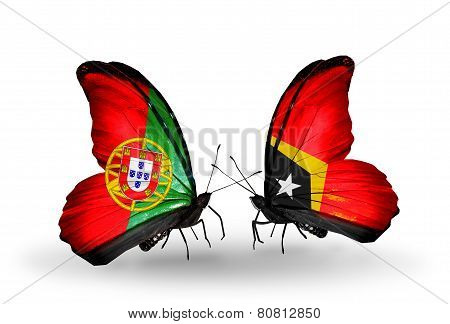 Two Butterflies With Flags On Wings As Symbol Of Relations Portugal And  East Timor