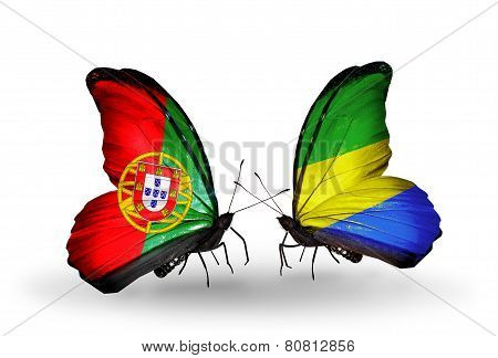 Two Butterflies With Flags On Wings As Symbol Of Relations Portugal And Gabon