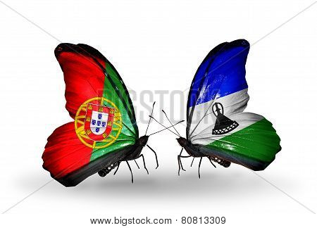 Two Butterflies With Flags On Wings As Symbol Of Relations Portugal And Lesotho