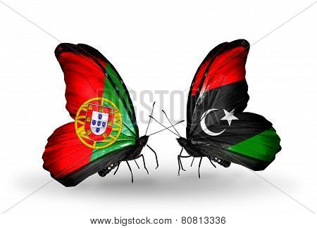 Two Butterflies With Flags On Wings As Symbol Of Relations Portugal And Libya