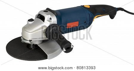 Angle Grinder With Abrasive Disk Isolated On A White Background With Clipping Path