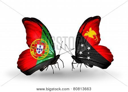 Two Butterflies With Flags On Wings As Symbol Of Relations Portugal And Papua New Guinea