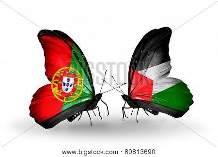 Two Butterflies With Flags On Wings As Symbol Of Relations Portugal And Palestine