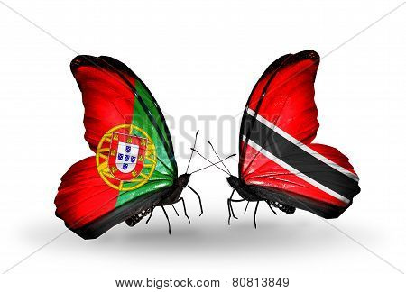 Two Butterflies With Flags On Wings As Symbol Of Relations Portugal And Trinidad And Tobago