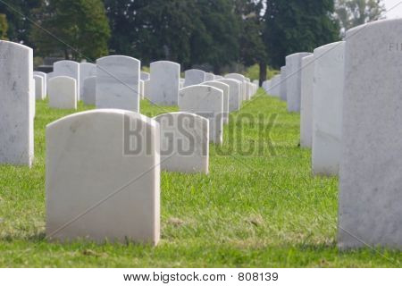 Low view of a graveyard