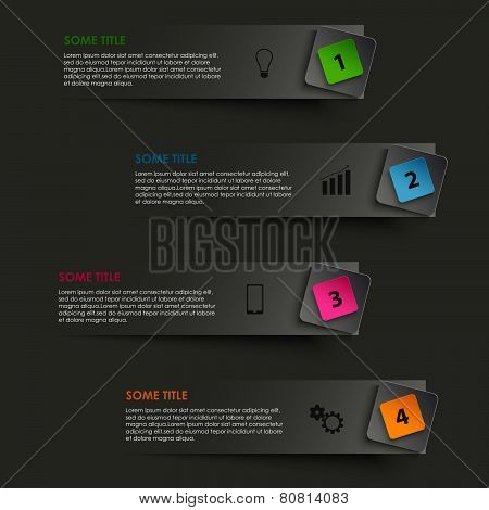 Info Graphic Striped With Colored Pointer On Black Background