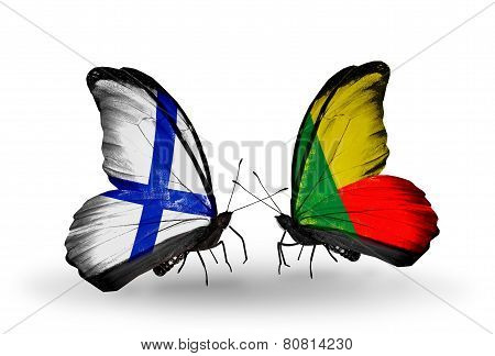 Two Butterflies With Flags On Wings As Symbol Of Relations Finland And  Benin