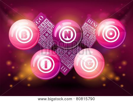 Bingo balls on pink shiny background