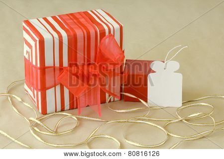 Wrapped gift with empty white tag
