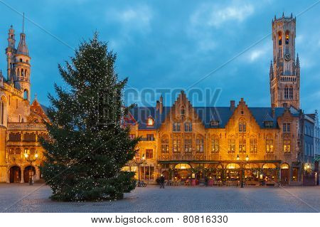 Cityscape with the Christmas Burg Square in Bruges